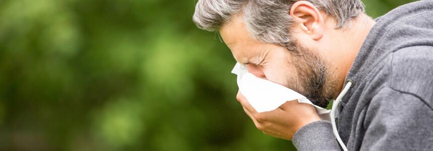 Ein Mann mit einer Sommergrippe muss sich schnäuzen.